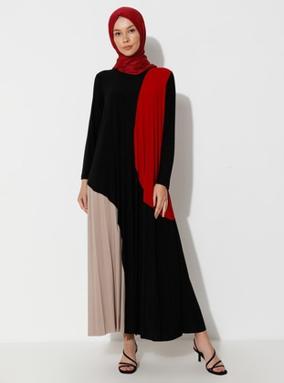 Red - Black - Crew neck - Unlined - Dress