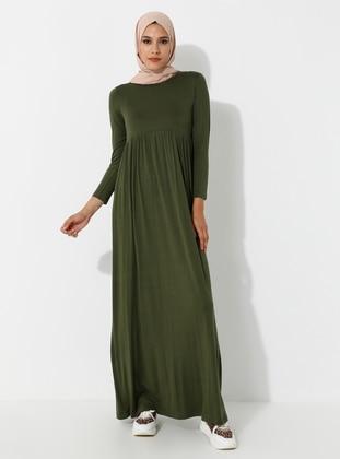 Khaki - Crew neck - Unlined - Viscose - Dress - SAYIN TESETTÜR