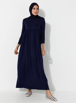 Navy Blue - Crew neck - Unlined - Viscose - Dress - SAYIN TESETTÜR