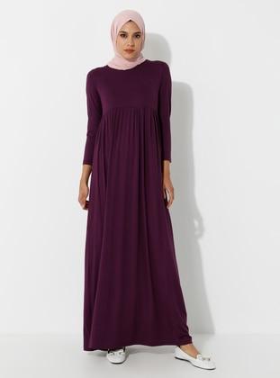 Plum - Crew neck - Unlined - Viscose - Dress - SAYIN TESETTÜR