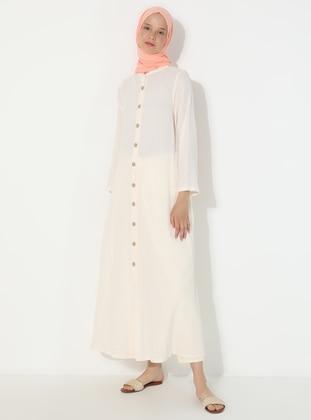 Cream - Cream - Unlined - Crew neck - Cotton - Abaya