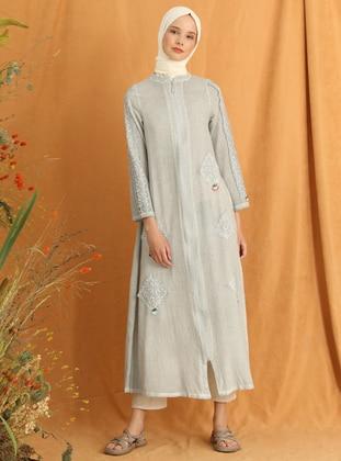 Gray - Gray - Unlined - Crew neck - Cotton - Abaya