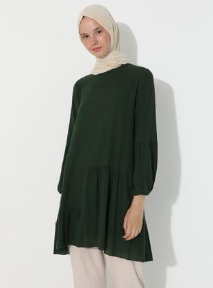 Green - Green - Crew neck - Cotton - Tunic