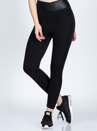 Black - Scuba - Gym Leggings - Marka Sportwear