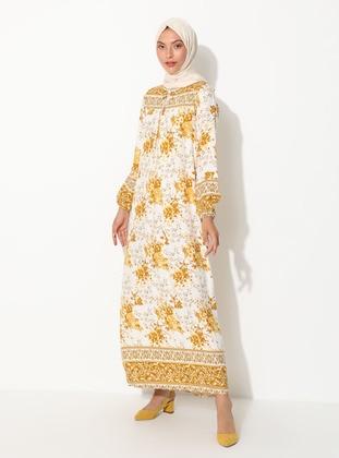 Mustard - Floral - Crew neck - Unlined - Dress