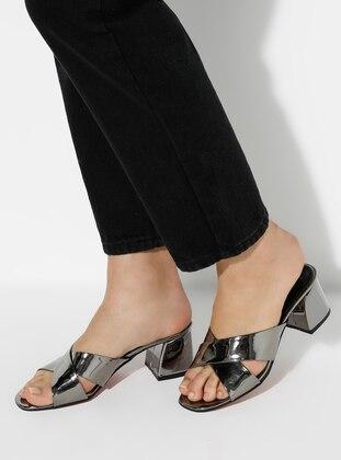 Silver - Sandal - High Heel - Slippers