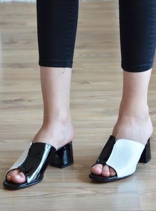 White - Black - Sandal - Slippers