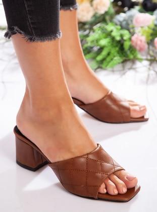 Tan - Sandal - High Heel - Slippers