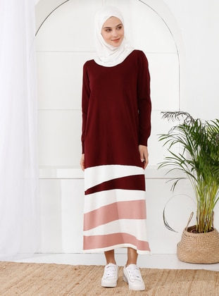 Maroon - Unlined - Crew neck - Acrylic -  -  - Knit Dresses
