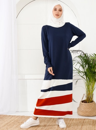 Navy Blue - Unlined - Crew neck - Acrylic -  -  - Knit Dresses