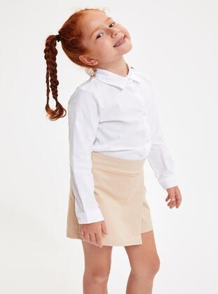 White - Girls` Shirt - DeFacto