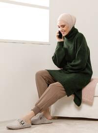 Green - Emerald - Polo neck - Knit Tunics