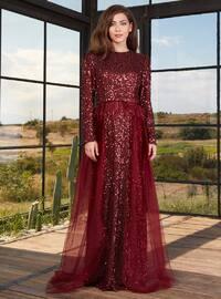 Maroon - Fully Lined - Crew neck - Muslim Evening Dress