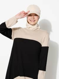 Beige - Black - Viscose - Crew neck - Tracksuit Set