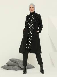 Black - Fully Lined - Crew neck - Acrylic - Coat
