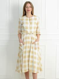 White - Yellow - Checkered - Crew neck - Unlined - Modest Dress