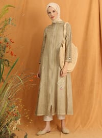 Brown - Unlined - Crew neck - Cotton - Abaya