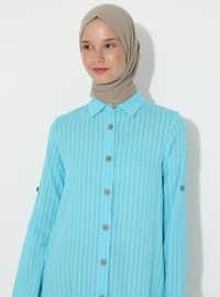 Turquoise - Blue - Turquoise - Stripe - Point Collar - Cotton - Tunic