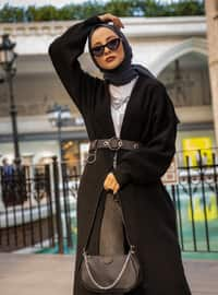 Black - Acrylic - Cotton -  - Cardigan