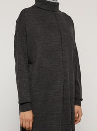 Anthracite - Polo neck - Unlined - Knit Tunics