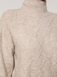 Beige - Polo neck - Knit Tunics