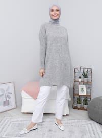 Silver tone - Crew neck - Knit Tunics