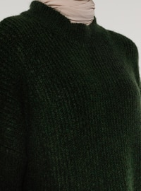Green - Crew neck - Knit Tunics
