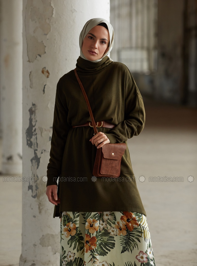 Khaki - Polo neck - Unlined - Knit Tunics