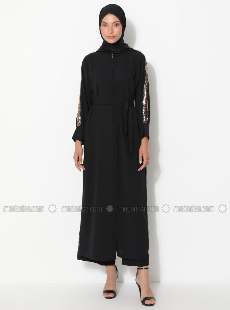 Gold - Black - Unlined - Crew neck - Abaya