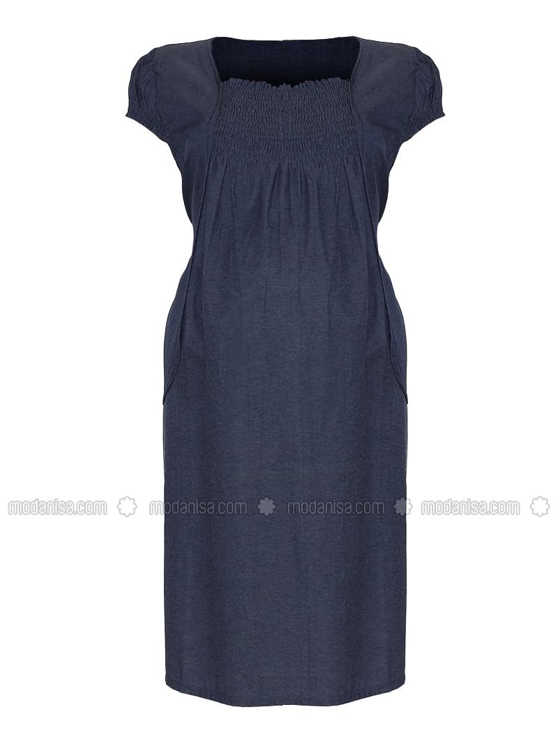 Indigo - Sweatheart Neckline - Unlined - Lyocell - Maternity Dress