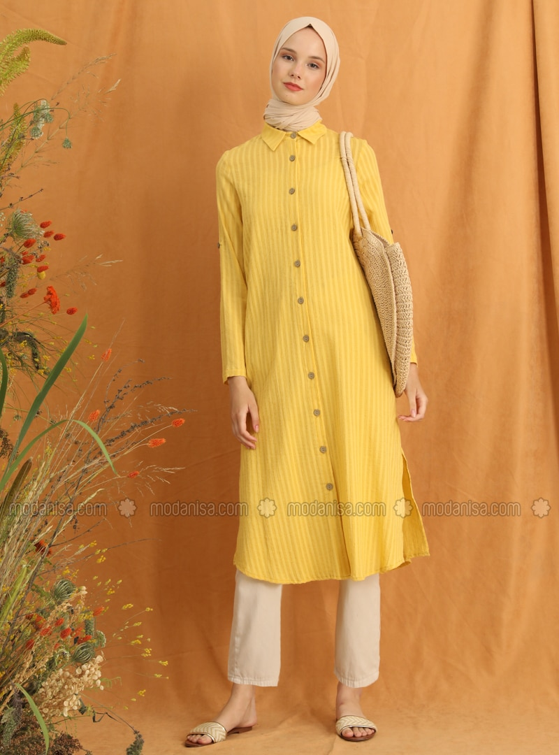 Yellow - Yellow - Stripe - Point Collar - Cotton - Tunic