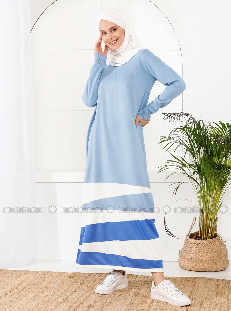Baby Blue - Unlined - Crew neck - Acrylic - - - Knit Dresses