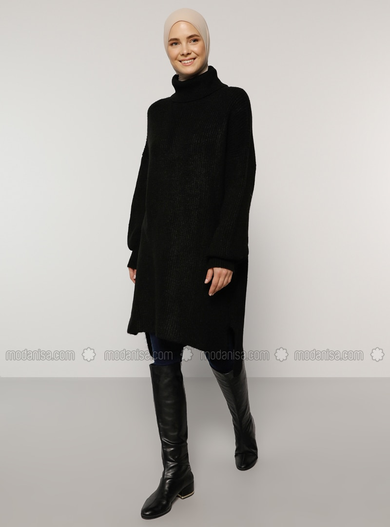 Black - Polo neck - Knit Tunics