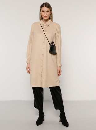 Beige - Point Collar - Plus Size Tunic