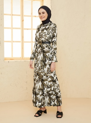 Khaki - Floral - Crew neck - Unlined - Viscose - Dress