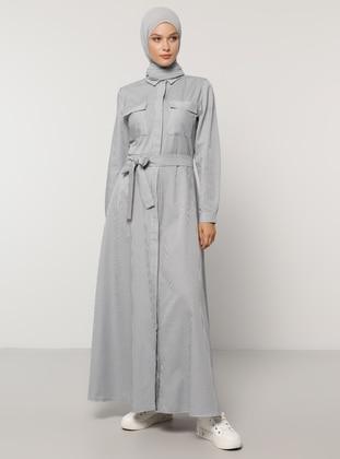 White - Navy Blue - Stripe - Point Collar - Unlined - Dress