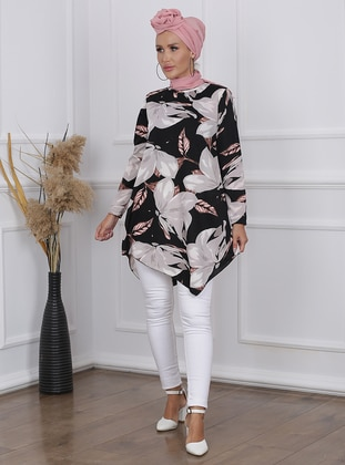 Gray - Black - Floral - Crew neck - Tunic