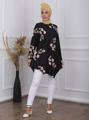 Red - Black - Floral - Crew neck - Tunic