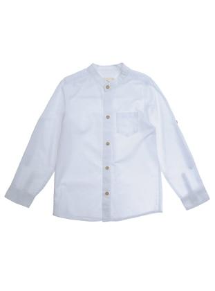 Crew neck - - Unlined - White - Boys` Shirt