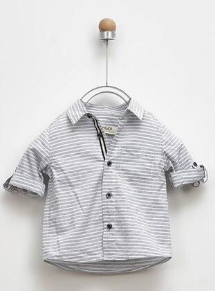 Stripe - Point Collar - - Gray - Boys` Shirt