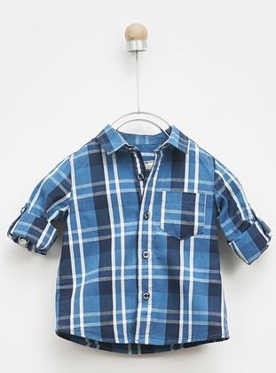 Stripe - Point Collar - - Navy Blue - Boys` Shirt