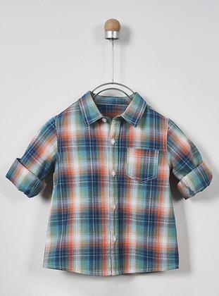 Plaid - Point Collar - - Green - Boys` Shirt