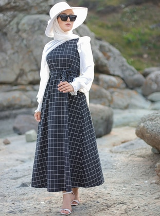 Anthracite - Checkered - Crew neck - Unlined -  - Dress