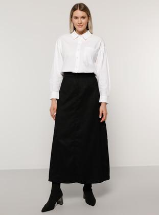 Black - Unlined - Plus Size Skirt