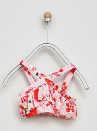 Floral - V neck Collar - Pink - Girls` Blouse - Panço