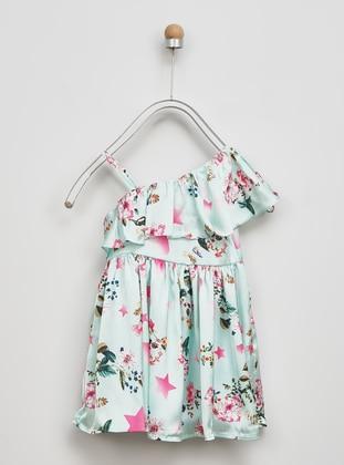 Multi - Boat neck - Multi - Green - Girls` Dress