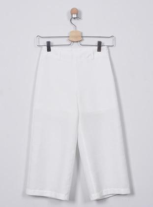 - Viscose - White - Ecru - Girls` Pants