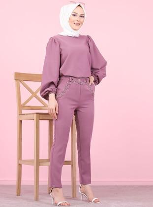 Plum - Acrylic - Wool Blend - Pants