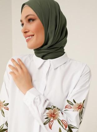 Embroidered Sleeve Poplin Tunic - White - Refka Woman