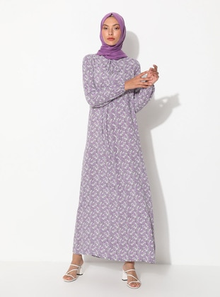 Lilac - Floral - Crew neck - Unlined - Dress